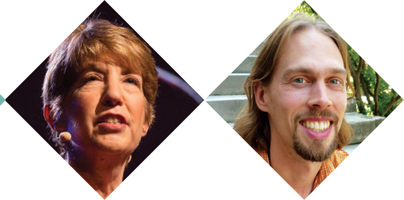 Faces of the speakers at the event: Marlene Zuk and Colin DeYoung